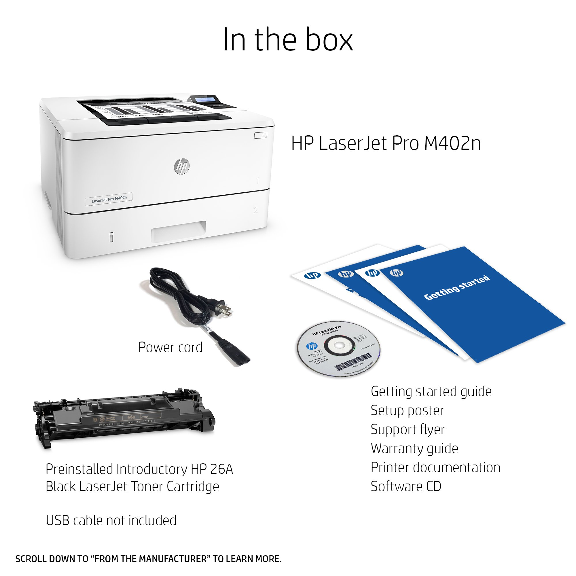 HP LaserJet Pro M402n Laser Printer with Built-in Ethernet, Amazon Dash Replenishment ready (C5F93A) by HP (Image #4)