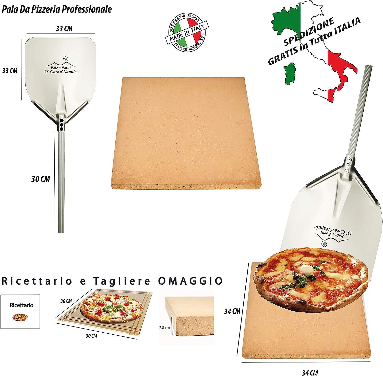 Personaliza y coloca tu nombre o frase en la piedra refractaria para pizza de horno (34 x 34 x 2,8 cm) Kit completo con pala de acero inoxidable de calidad para la