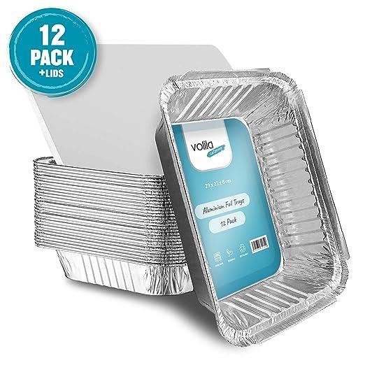 Bandejas Desechables de Aluminio Grandes Tamaño 23cm x 23cm para ...