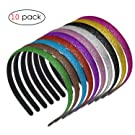 Glitter Headbands for Girls, Adecco LLC Sparkly Headbands with Teeth,Colorful Plastic Headbands Different Colors 10 Pcs Per Pack