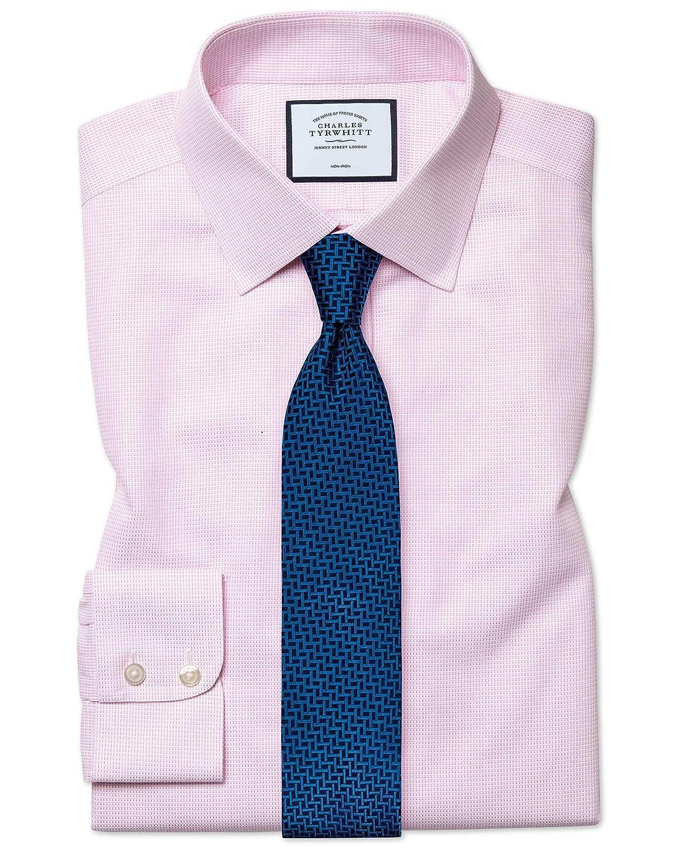 Chemise à Motif à Effet Tirets Rose Slim Fit Sans Repassage   Rose (Poignet Simple)   17.5   35
