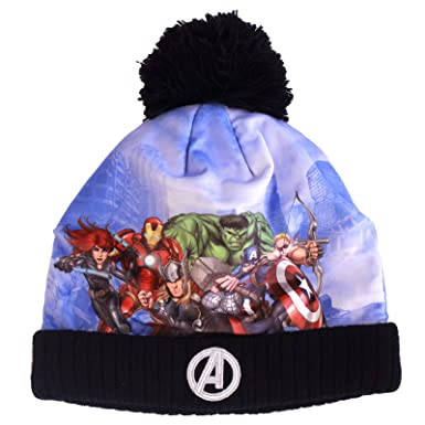 Boys Kids Marvel Avengers Winter Beanie Hat with Bobble Age 1-13 Years (Age f89afbc1c3e