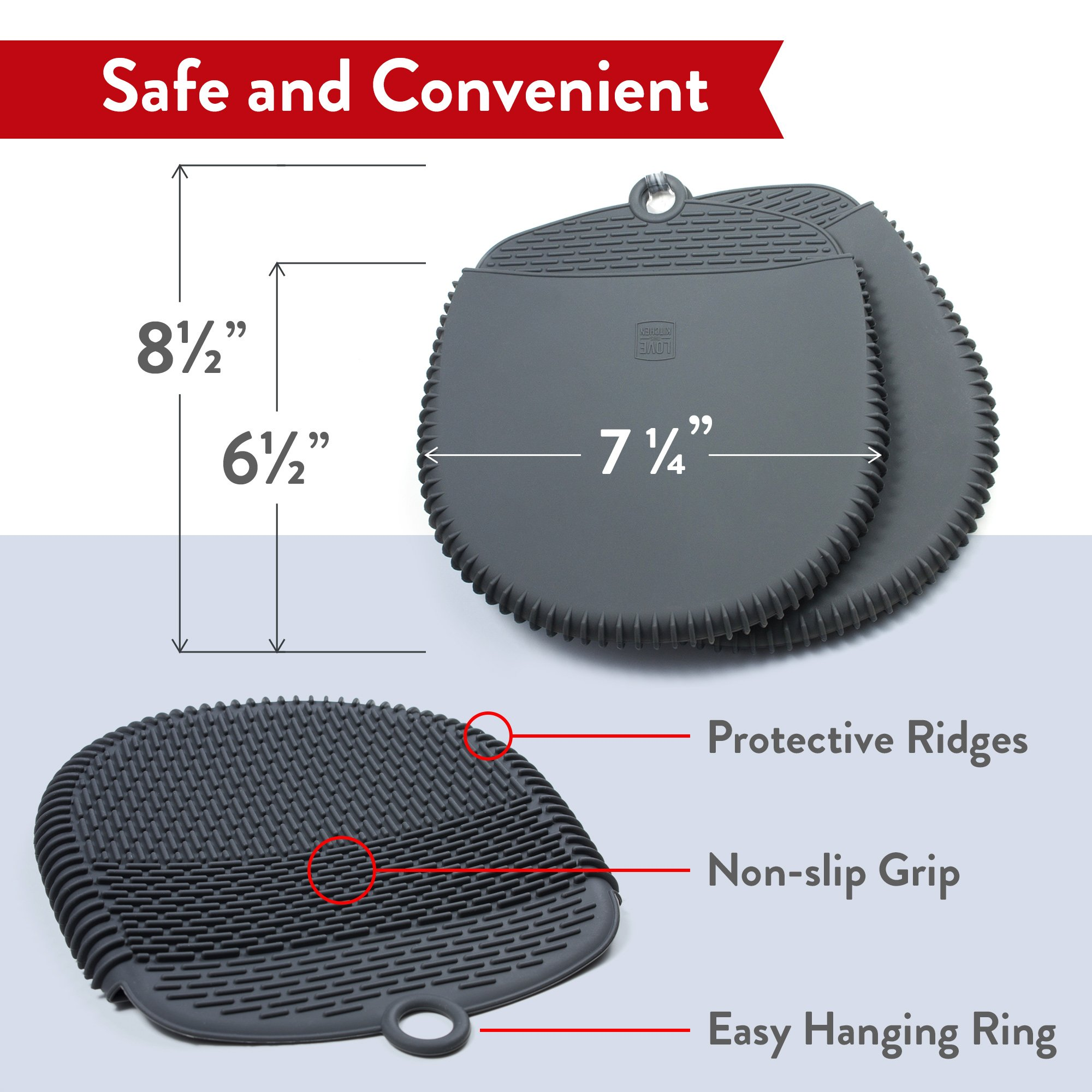 The Ultimate Pot Holders / Oven Mitts | 100% Silicone Mitt is Healthier Than Cotton & Easier to Clean, Won't Grow Mold or Bacteria | Unique Design Makes it Safe, Non-Slip & Flexible (Gray, Set of 2) by Love This Kitchen (Image #2)