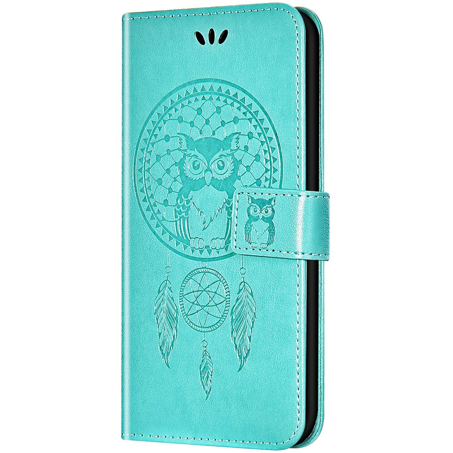 Case for Galaxy A10e Flip Case Ultra Slim PU Leather Wallet with Card Holder/Slot and Magnetic Closure Shockproof Cartoon Animal Owl Embossed Protective Cover for Galaxy A10e,Green by ikasus