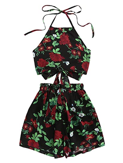 0cae5ea76543 Amazon.com: SheIn Women's Sunflower Print 2 Pieces Halter Backless Top with Shorts  Outfits Rose Large: Clothing