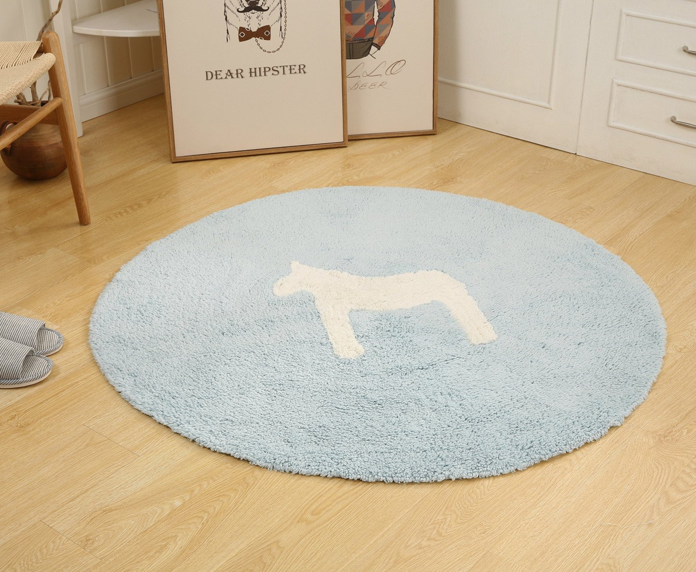 Round Baby Play Game Mat Crawling Mat, Children's Lovely animals Round Rug, Warm Soft Cotton Luxury Plush Baby Crawling Rugs 47.24 inch Diameter (Blue-Foal)