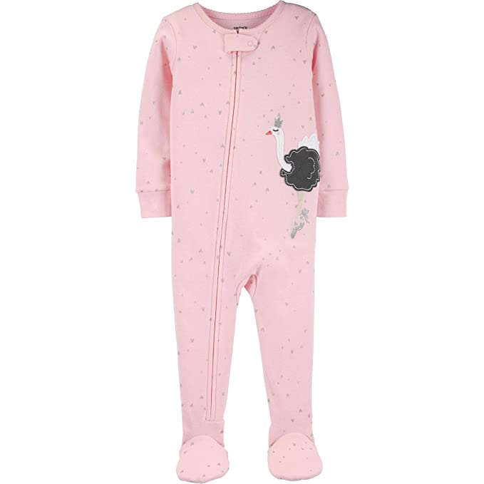 Carter's Pink Baby Girls One Piece Fleece Footed Pajama Girls' Clothing (Newborn-5T) Polka Dot Love Sleeper Baby & Toddler Clothing