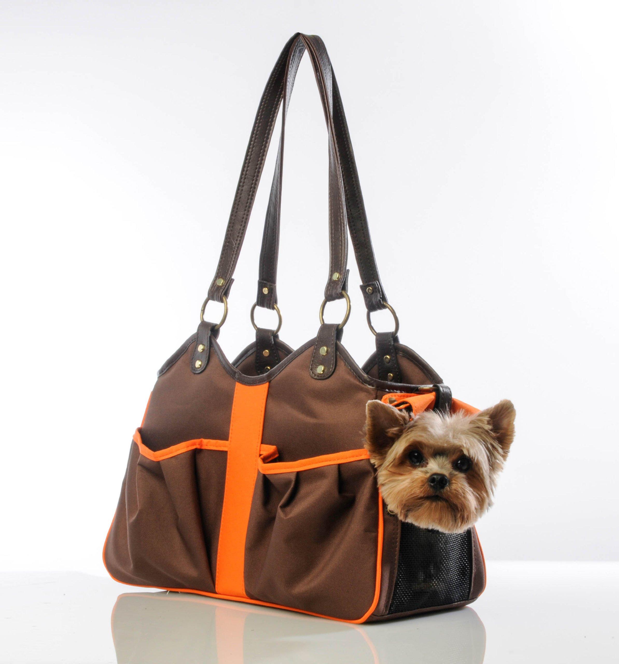 Petote Metro 2 Pet Carrier Bag, Large, Brown/Orange
