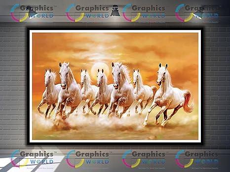 Graphics World Vastu White 7 Horse Large Vastu Paintings