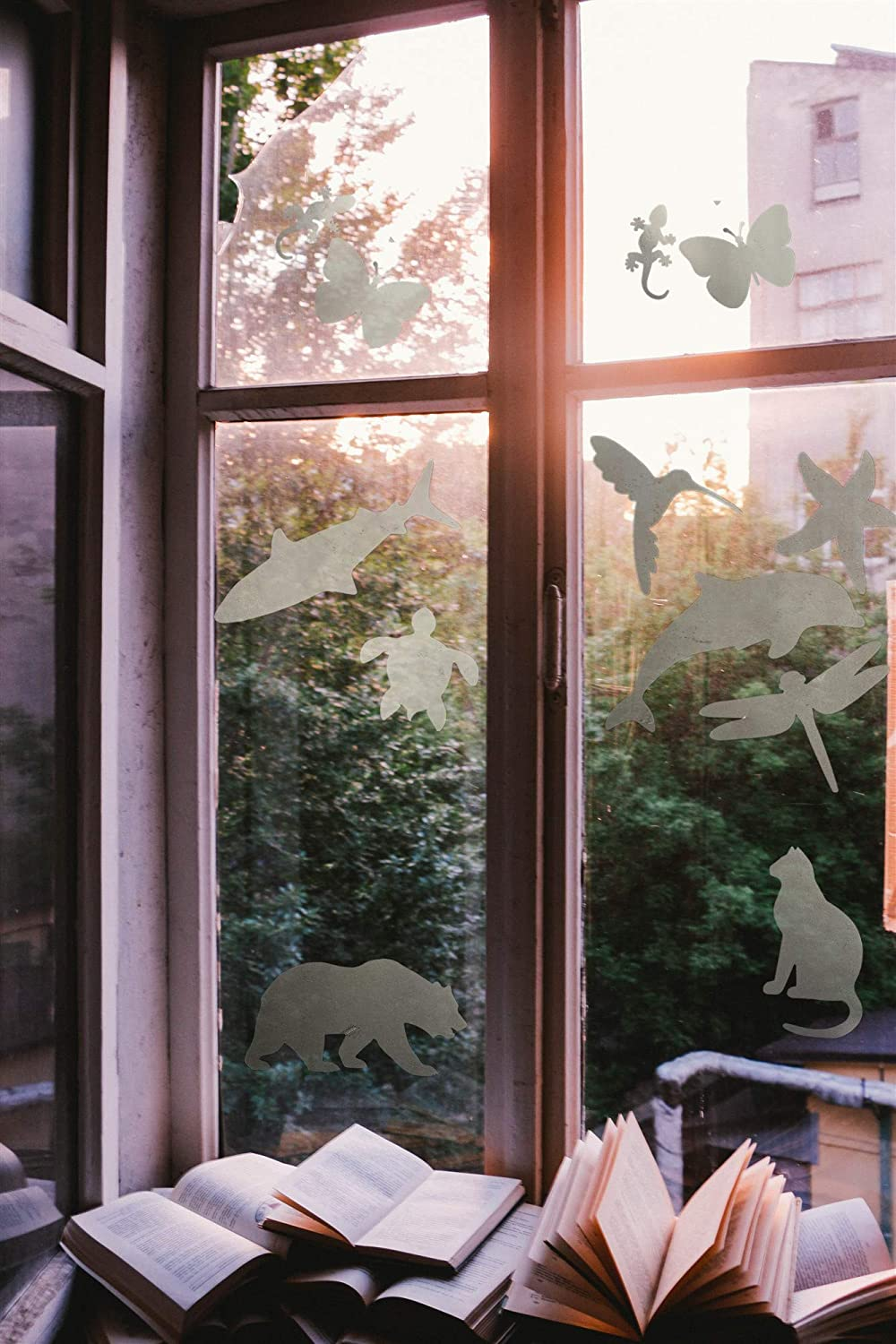 Window Alert Birds Stickers Anti Collision Clings Decals Animals Safey Silhouette for Prevent Birds or Kids on Window Glass,Black 10 Silhouettes