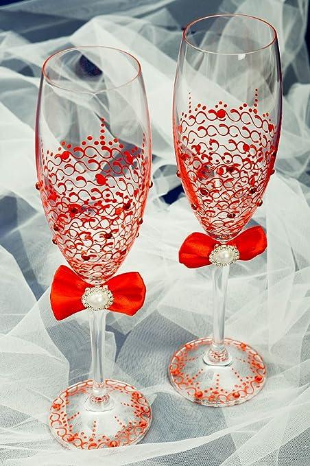 Copas de novios artesanales con lazos decoracion para boda regalo original: Amazon.es: Hogar