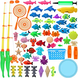 DmbsmOB Magnetic Fishing Pool Toys Game for Kids Set - Kids Interactive Fishing Toys, with Fishing Pool Floating Fish Ocean Sea Animals Age 3 4 5 6 7 8Year Old