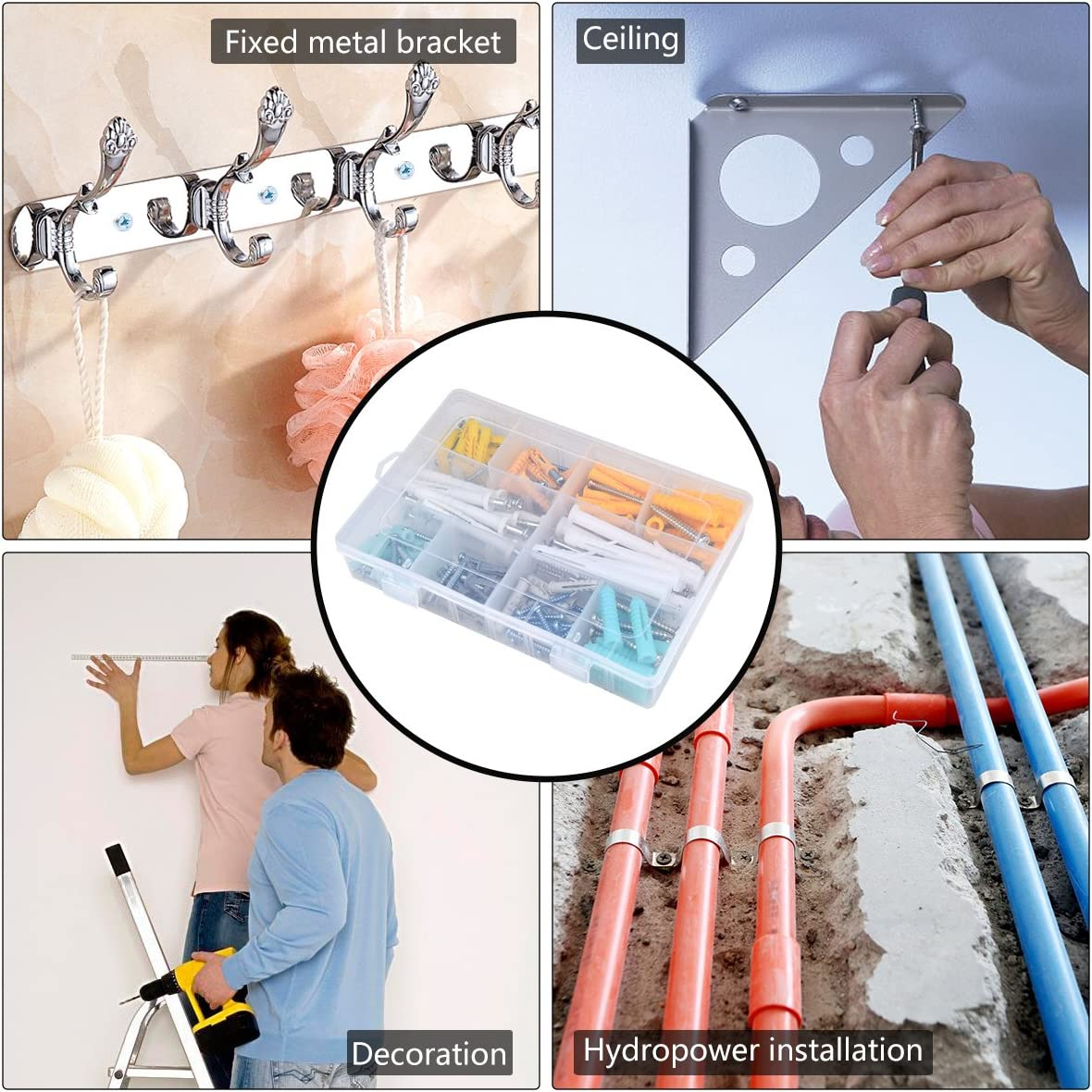 Building Hotusi 200Pcs Self Drilling Drywall Ribbed Anchors with Tapping Screws Assortment Kit for Mounting Repairing