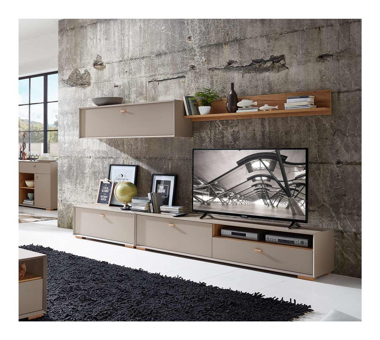 Anbauwand, Wohnwand, Schrankwand, Fernsehwand
