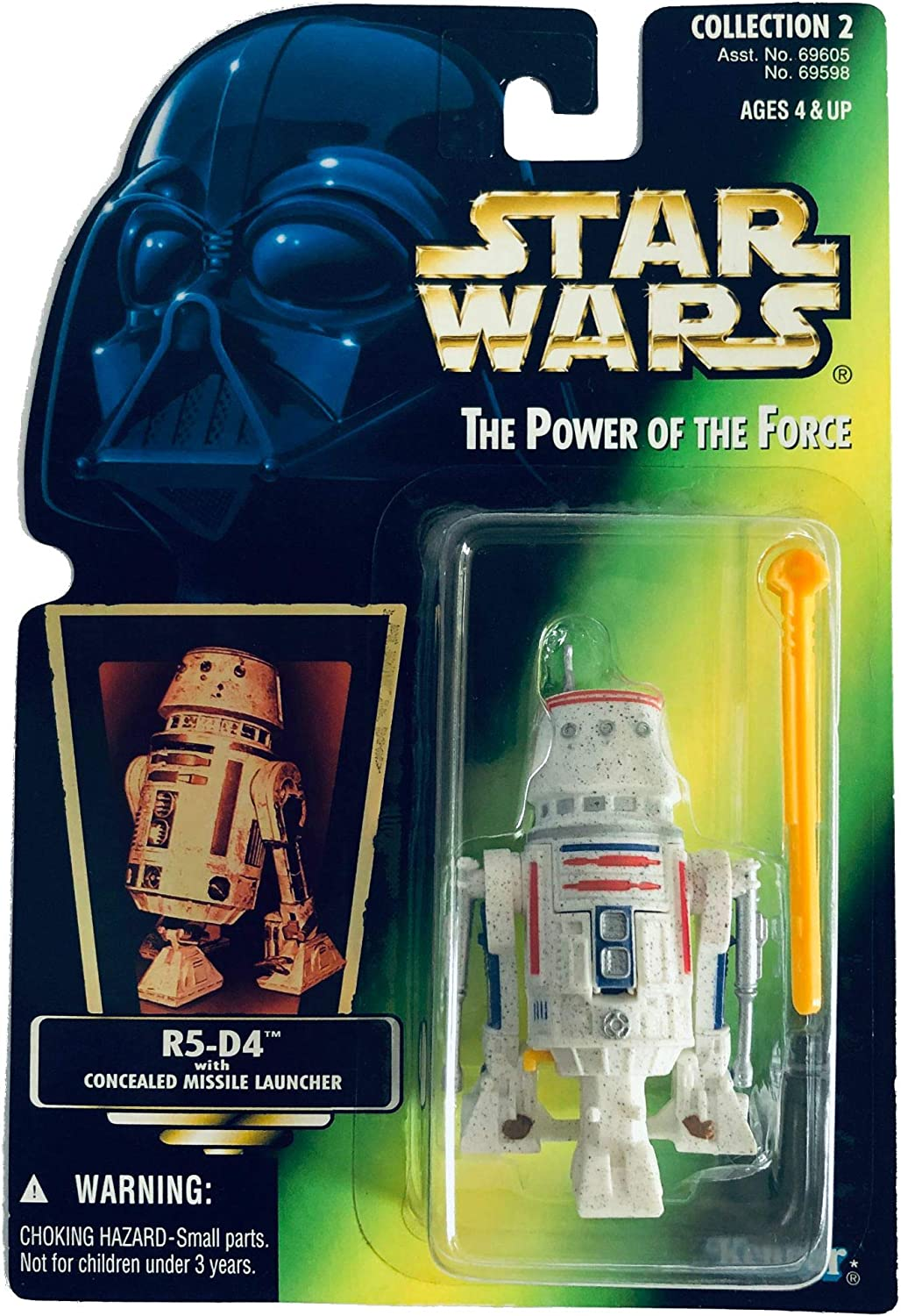 Star Wars The Power of the Force Action Figure - R5-D4 - Green Card with Holo...