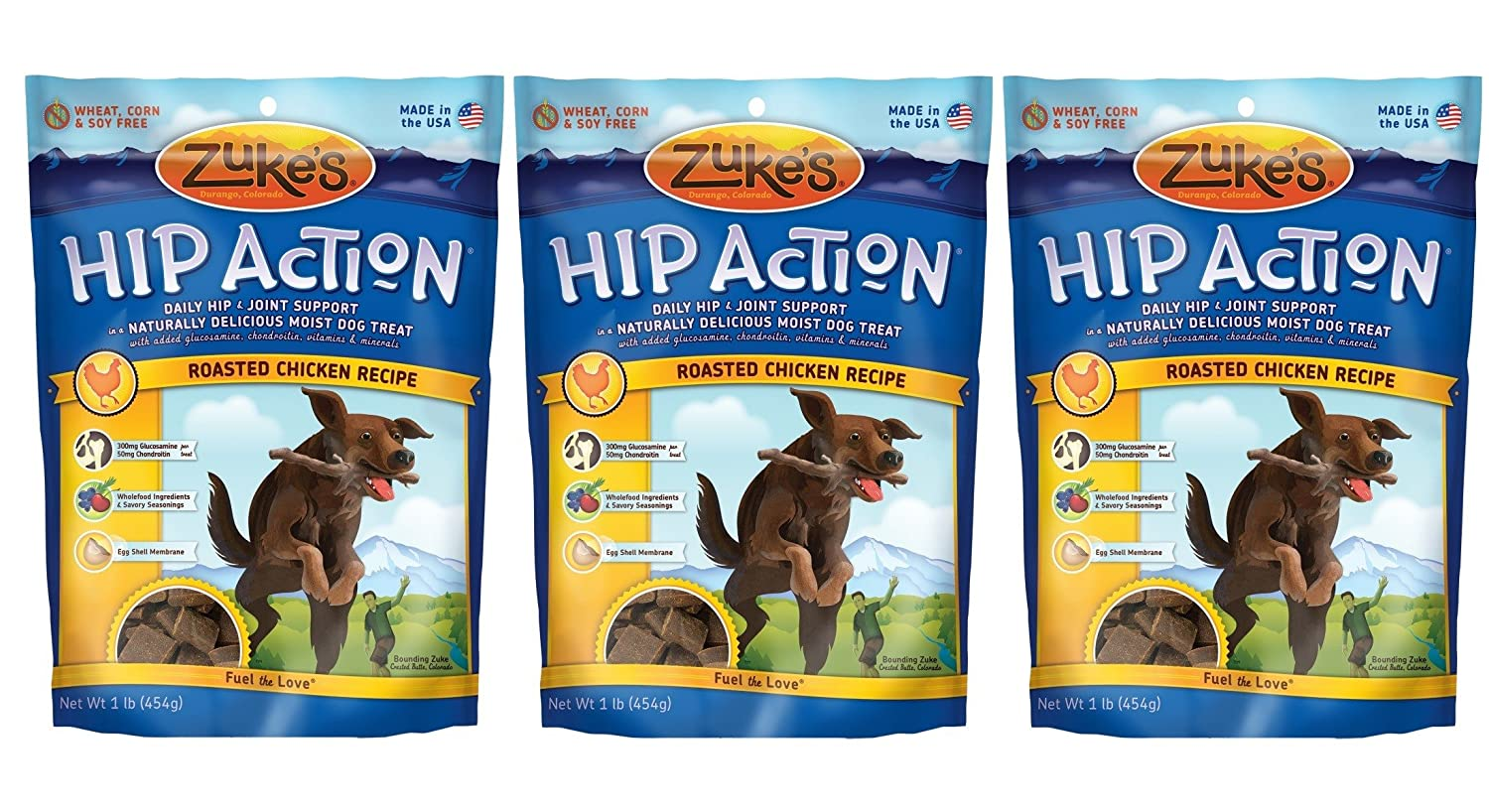 Zuke s Hip Action Natural Dog Treats, 1 lb, Pack of 3