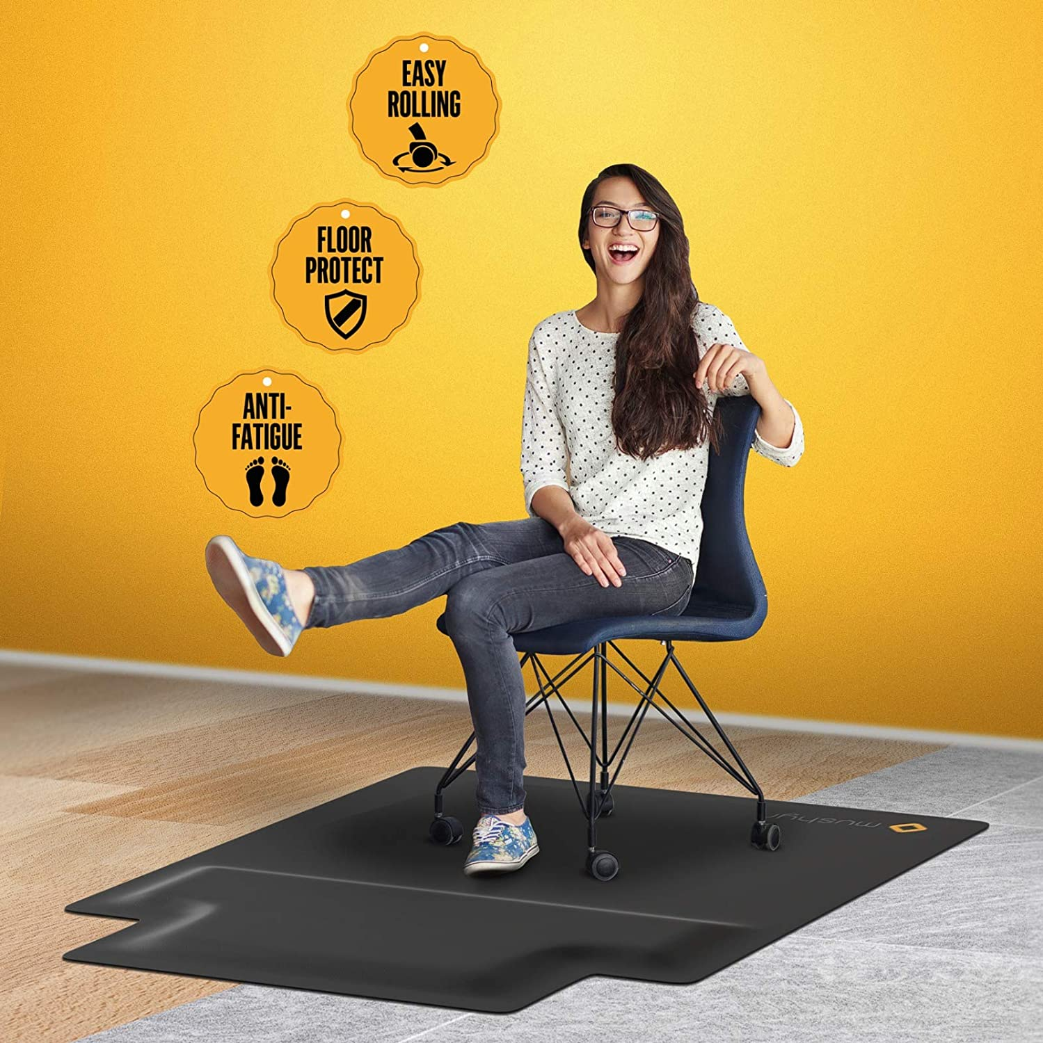 Office Chair Mat with Anti Fatigue Cushioned Foam - Chair Mat for Harwood Floor with Foot Rest Under Desk - 2 in 1 Chairmat Standing Desk Anti-Fatigue Comfort Mat: Kitchen & Dining