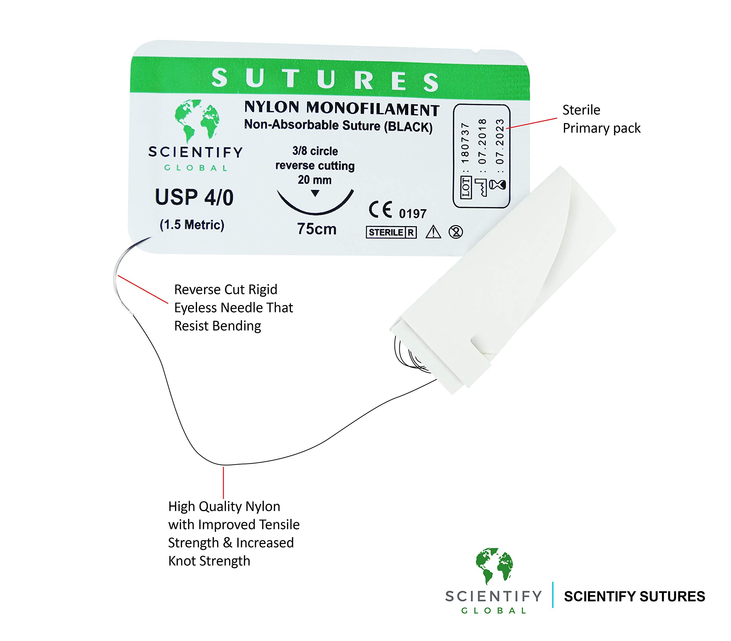 Sterile Suture Thread with Needle – Pack of 20 for Veterinary Dental Nursi