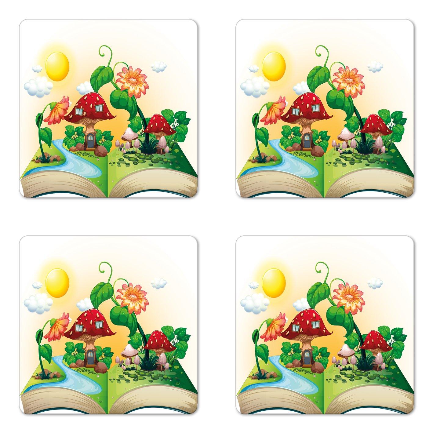 Lunarable Cartoon Coaster Set of Four, Pop Up Book