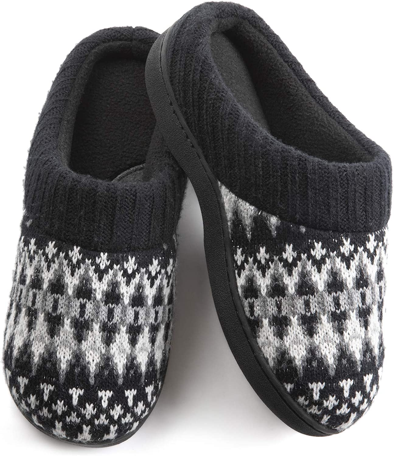 Wishcotton Womens Cozy Breathable Christmas Style Memory Foam Slippers Nonslip Rubber Sole House Shoes