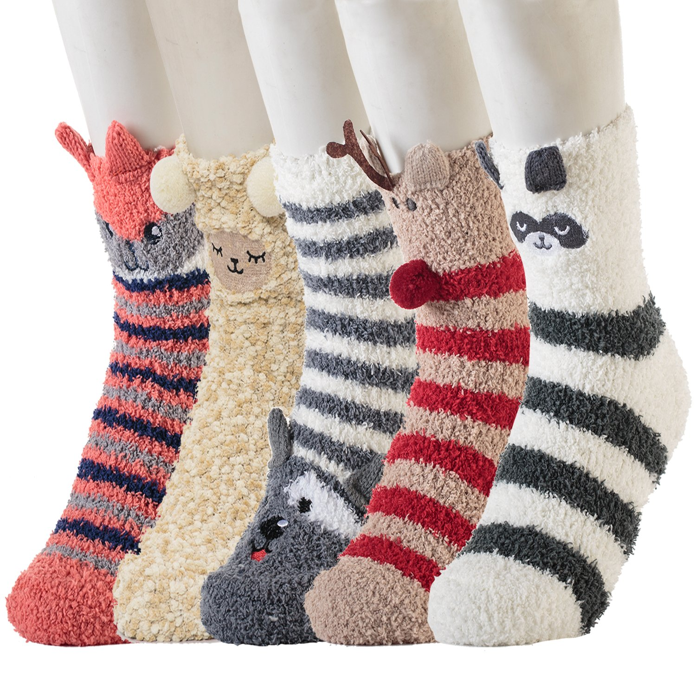 5 Pairs Winter Warm Cozy Socks Womens Girls 3D Cute Animal Slipper Crew Fuzzy Socks