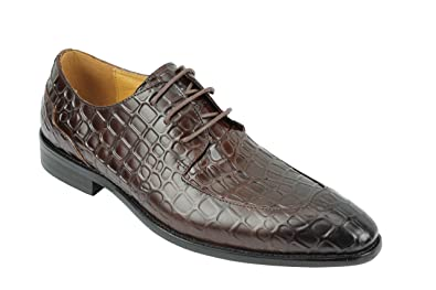 Mens Brown Crocodile Skin Embossed Real Leather Smart Formal Retro Lace up Dress Shoes