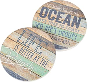 Life Is Better At The Beach Coastal Ocean Vintage Look 2.75 x 2.75 Absorbent Ceramic Car Coasters Pack of 2