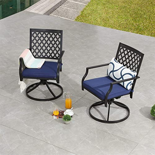 PatioFestival Swivel Patio Chairs Dining Chair Metal Frame Bistro Set Outdoor Furniture for Garden Backyard Club 2 Piece