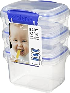 Sistema Klip It collection Baby Pack Food Storage Containers, Set of 3