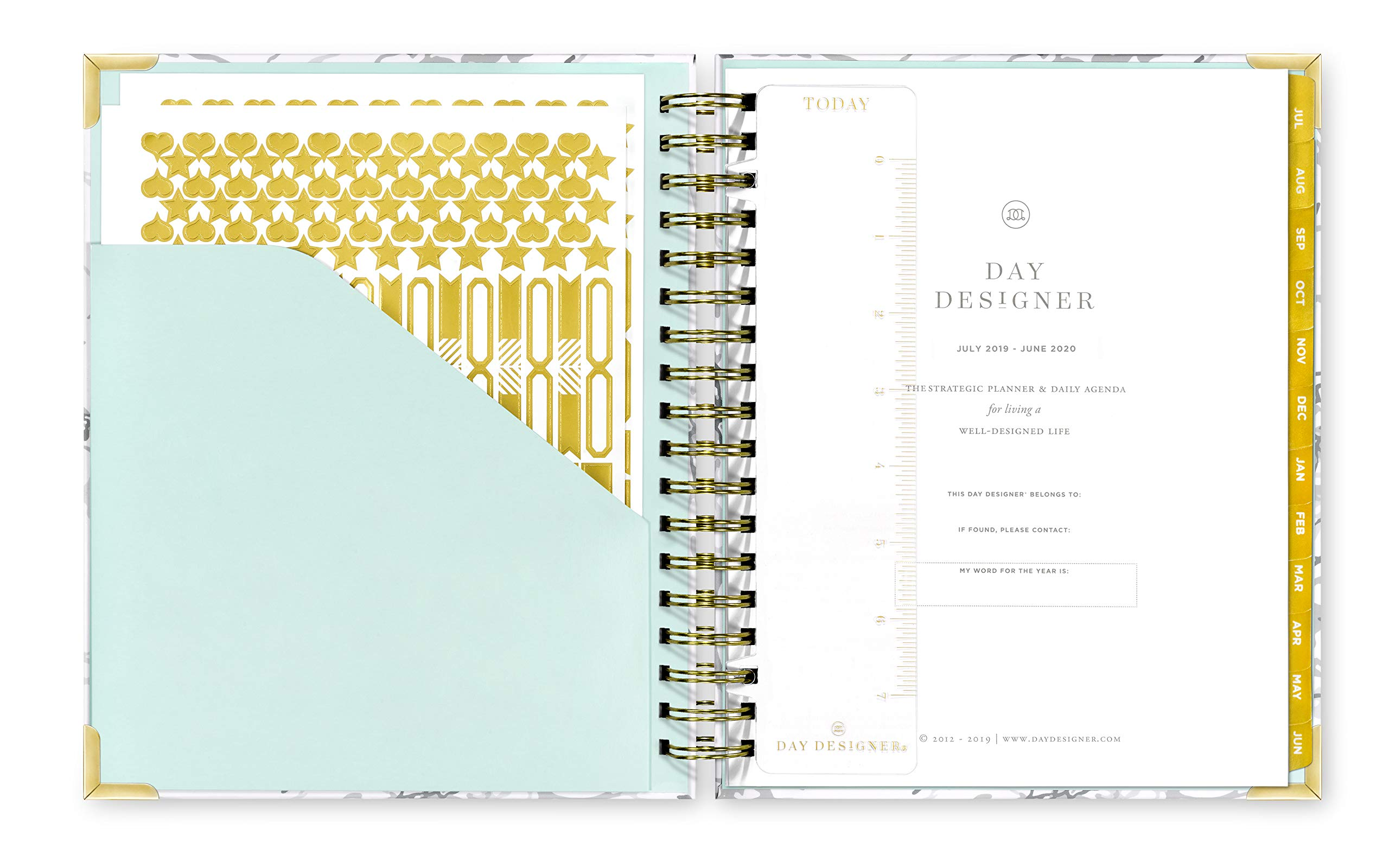 Day Designer 2019-2020 Daily Life Planner and Agenda, Hardcover, Twin-Wire Binding, 9'' x 9.75'', White Marble by Day Designer (Image #2)