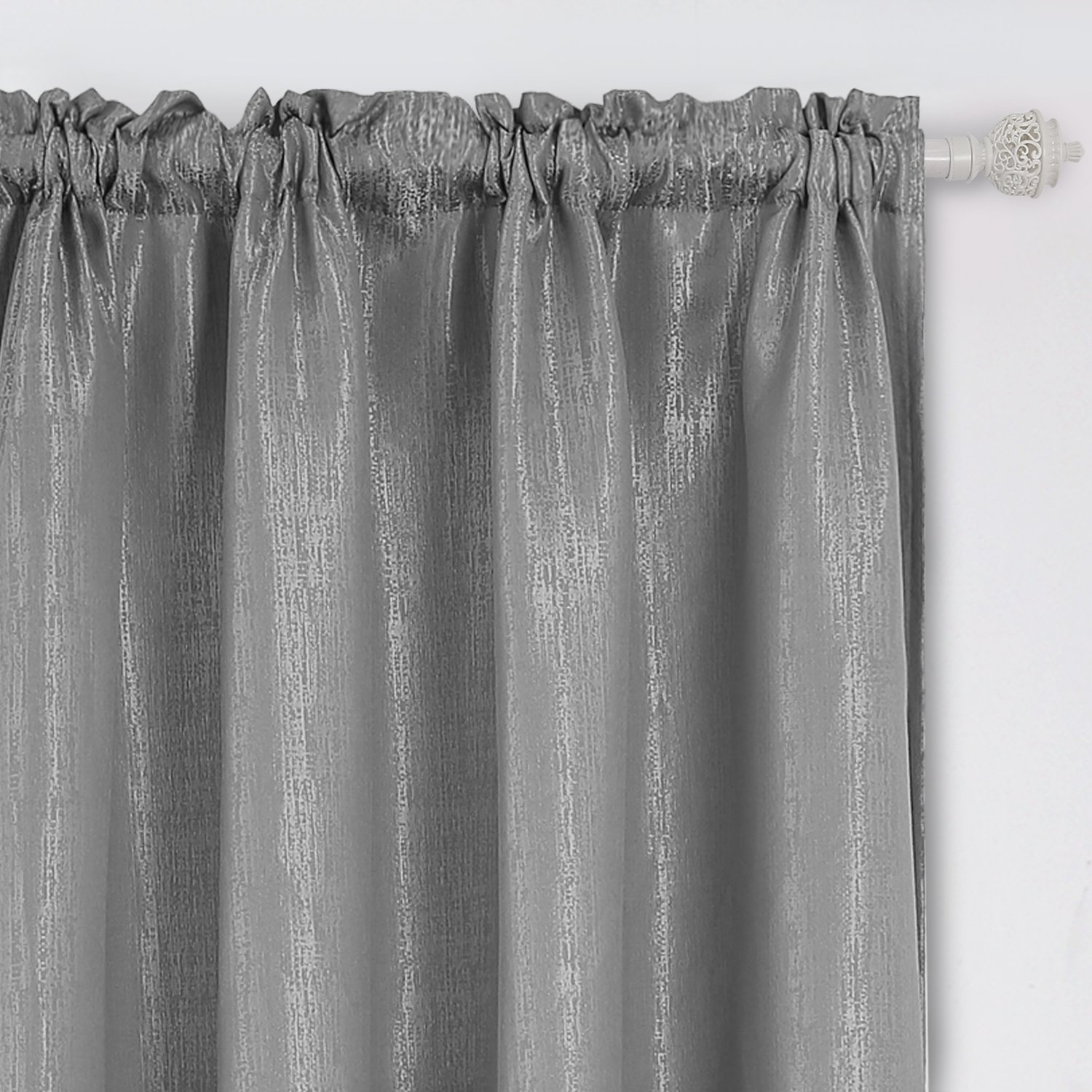 Deconovo Rod Pocket Luxurious Curtains Jacquard Curtains with Marble Pattern for Living Room 52W x 95L Grey 2 Panels