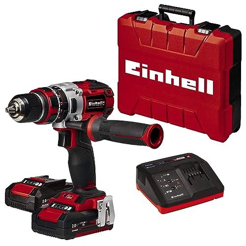 Einhell TE CD 18 Li i BL Power X Change Taladro percutor inalámbrico 18V con 2 baterías 2Ah cargador y maletín sin escobillas 2 velocidades 60 Nm luz LED