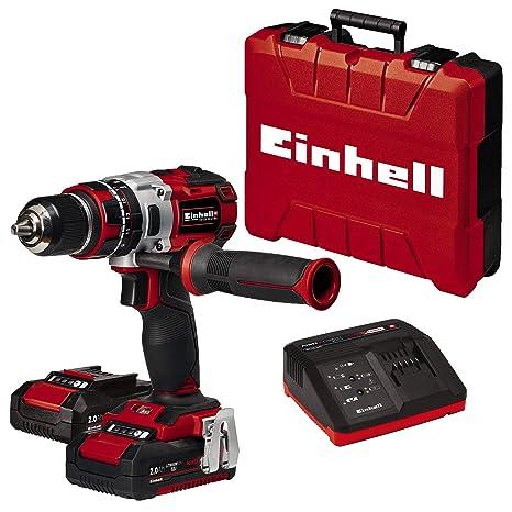 Einhell TE-CD 18 Li-i BL Power-X-Change - Taladro percutor inalámbrico 18V con 2 baterías (2Ah), cargador y maletín, sin escobillas, 2 velocidades, 60 ...