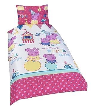 Amazon.com: Peppa Pig 'Funfair' Reversible Single Bed Duvet Cover ... : peppa pig quilt cover - Adamdwight.com