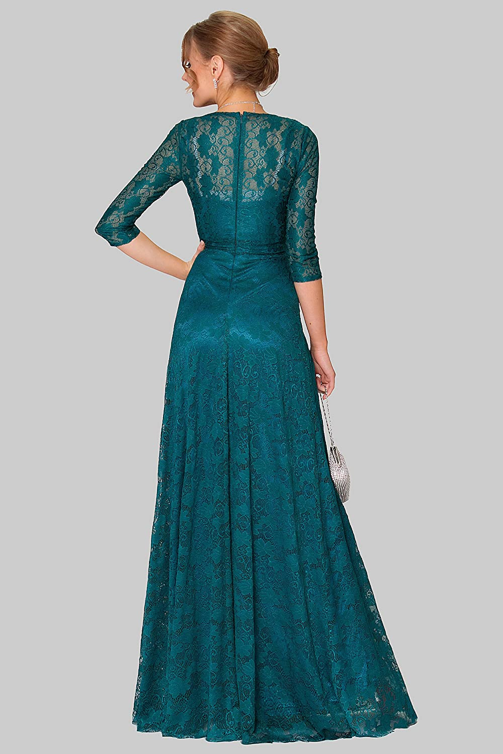 SEXYHER Charming DarkTeal Lace Covered Long Evening Bridesmaid Dress - EDYP1002