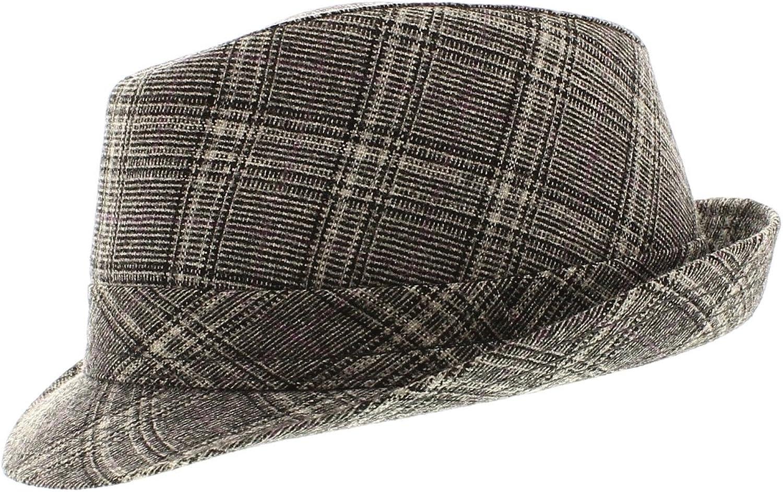 votrechapeau–Sombrero trilby–pequeño borde–Renon–gris a cuadros