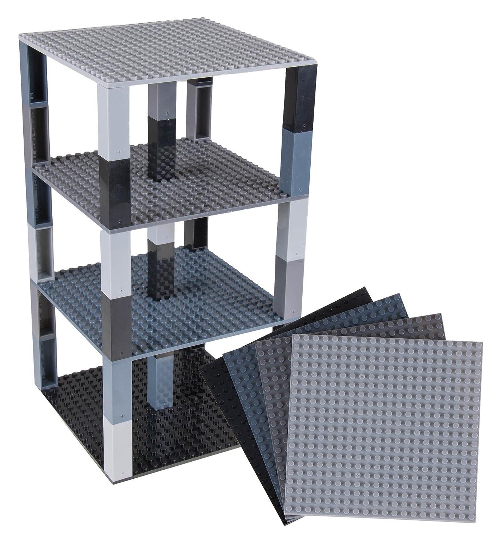 Gris//Noir Compatible avec Les Plus Grandes Marques pour Construction Une Tour 15,4 x 15,4 cm Strictly Briks Lot de 4 plaques de Base de qualit/é//40 Briques Stackers 2x2 am/élior/ées