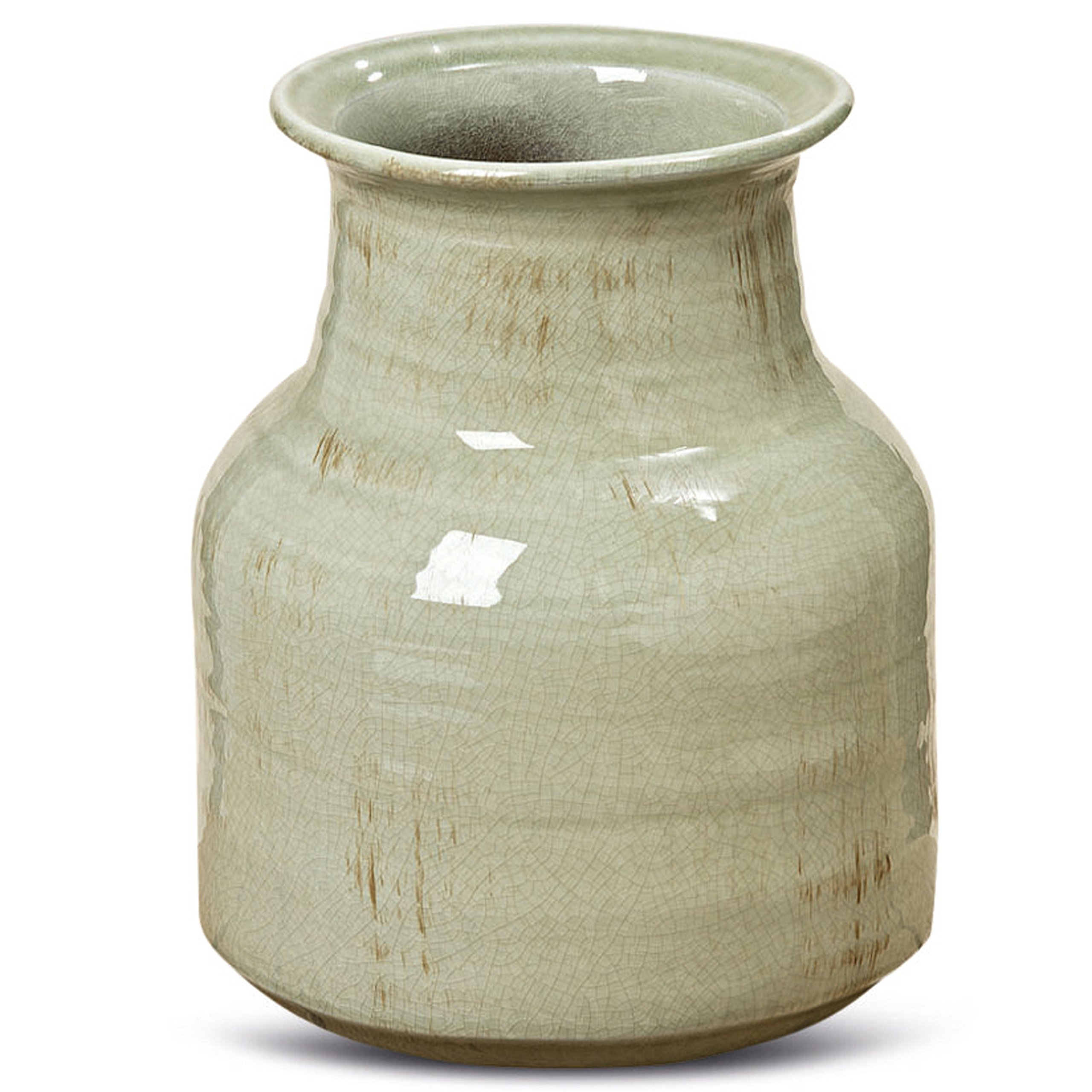 Whole House Worlds The Beach Chic Artisinal Vase, Celadon Glazed, Distressed Green, Crackled with Terracotta Undertones, Stoneware, 8 1/4 Diameter, 10 1/4 Tall Inches, By