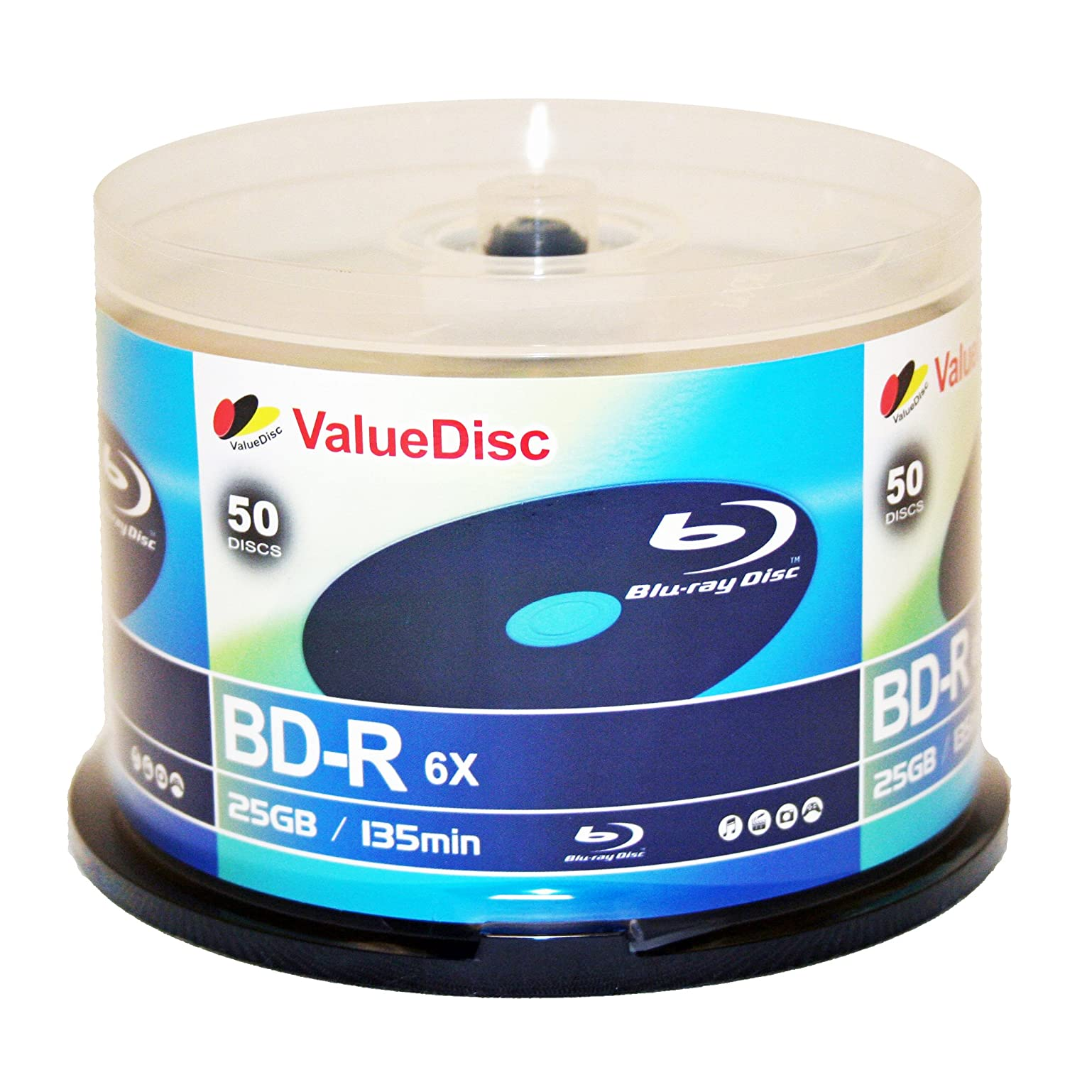 Value Disc BD-R 6X 25GB Blu-Ray 50 Pack Blank Discs in Spindle. Made in Taiwan VDBR0650P