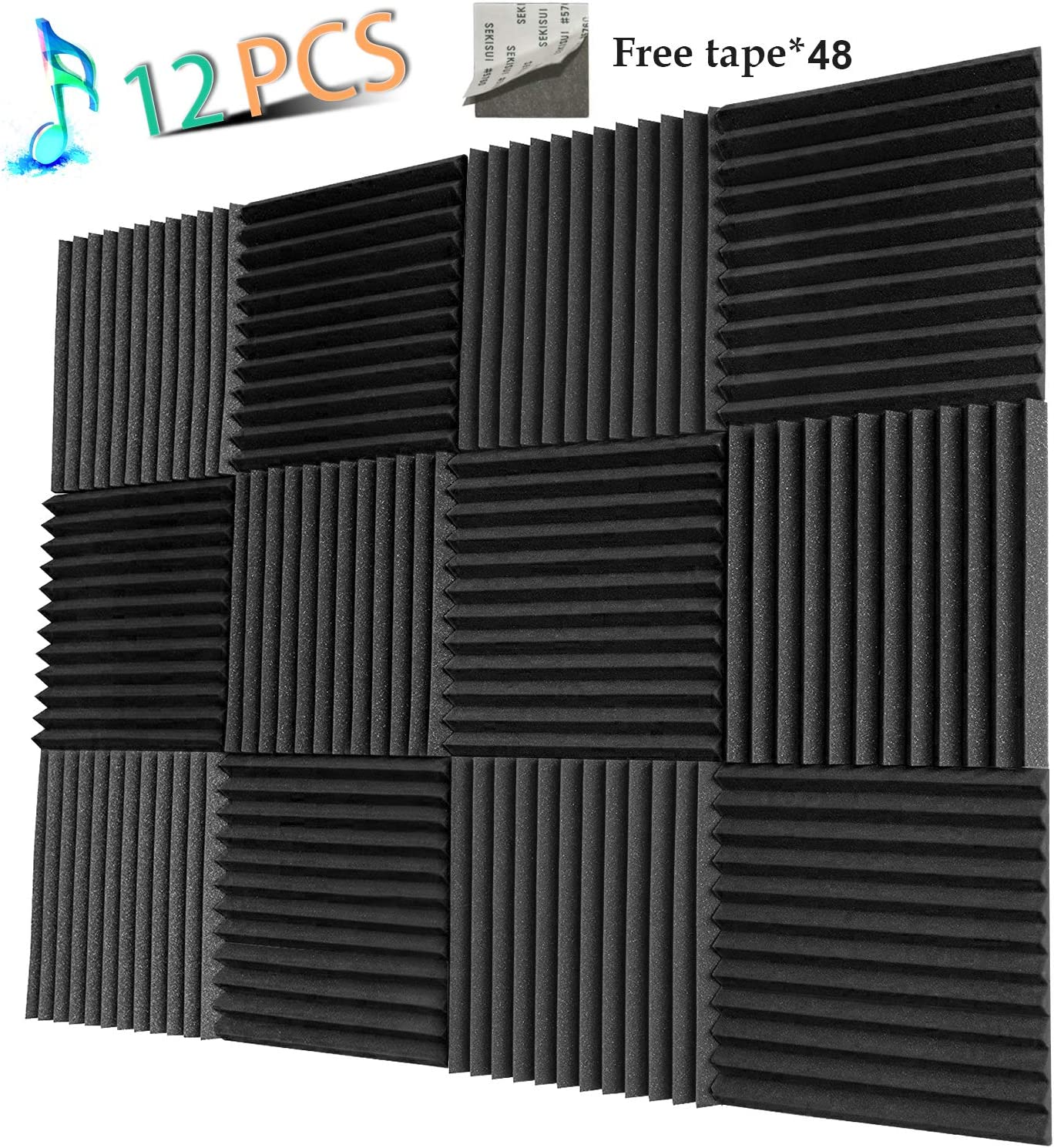 Acoustic Panels Studio Foam Sound Proof Panels Nosie Dampening Foam Studio Music Equipment Acoustical Treatments Foam 12 Pack-12''12''1''