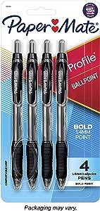 Paper Mate Profile Retractable Ballpoint Pen, Bold Point, Translucent Barrel, Black Ink, 4 Count