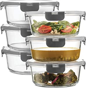 Superior Glass Round Meal Prep Containers -6pk(32oz) Newly Innovated Hinged BPA-free Locking lids- 100% Leak Proof Glass Food Storage Containers, Great on-the-go, Freezer to Oven Safe Lunch Containers