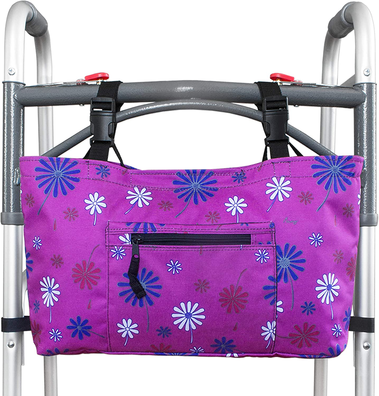 RMS Walker Bag with Soft Cooler - Water Resistant Tote with Temperature Controlled Thermal Compartment, Universal Fit for Walkers, Scooters or Rollator Walkers (Purple Flower): Health & Personal Care