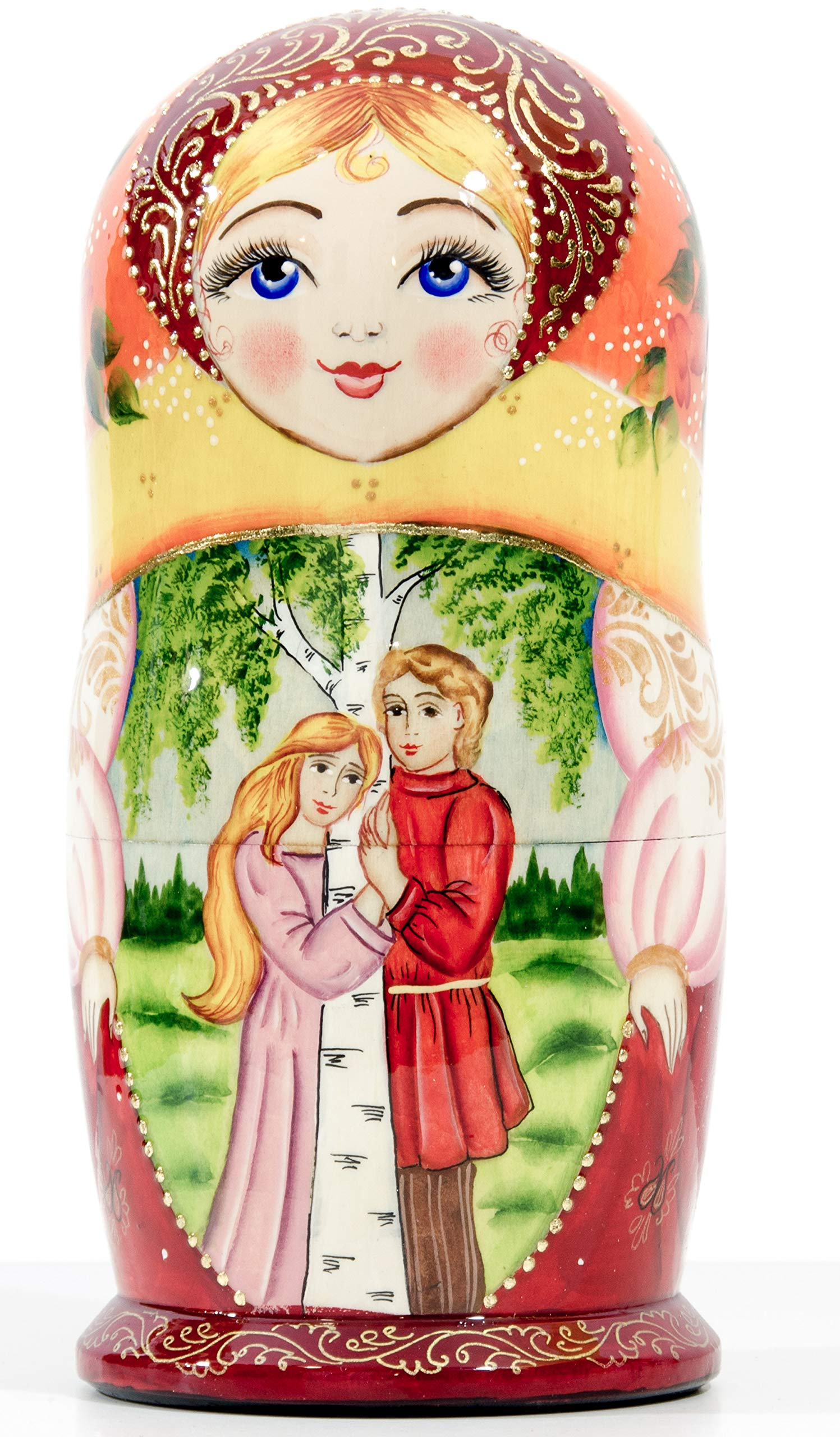 Russian Nesting Doll - Village Scenes - Hand Painted in Russia - 5 Color/Size Variations - Traditional Matryoshka Babushka (6.75``(5 Dolls in 1), Scene L) by craftsfromrussia (Image #6)