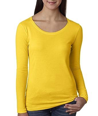 timeless design b2a77 b2115 Elegance Basic Shirt Lange Ärmel Langarm Shirt Damen Gelb(ref:2215)