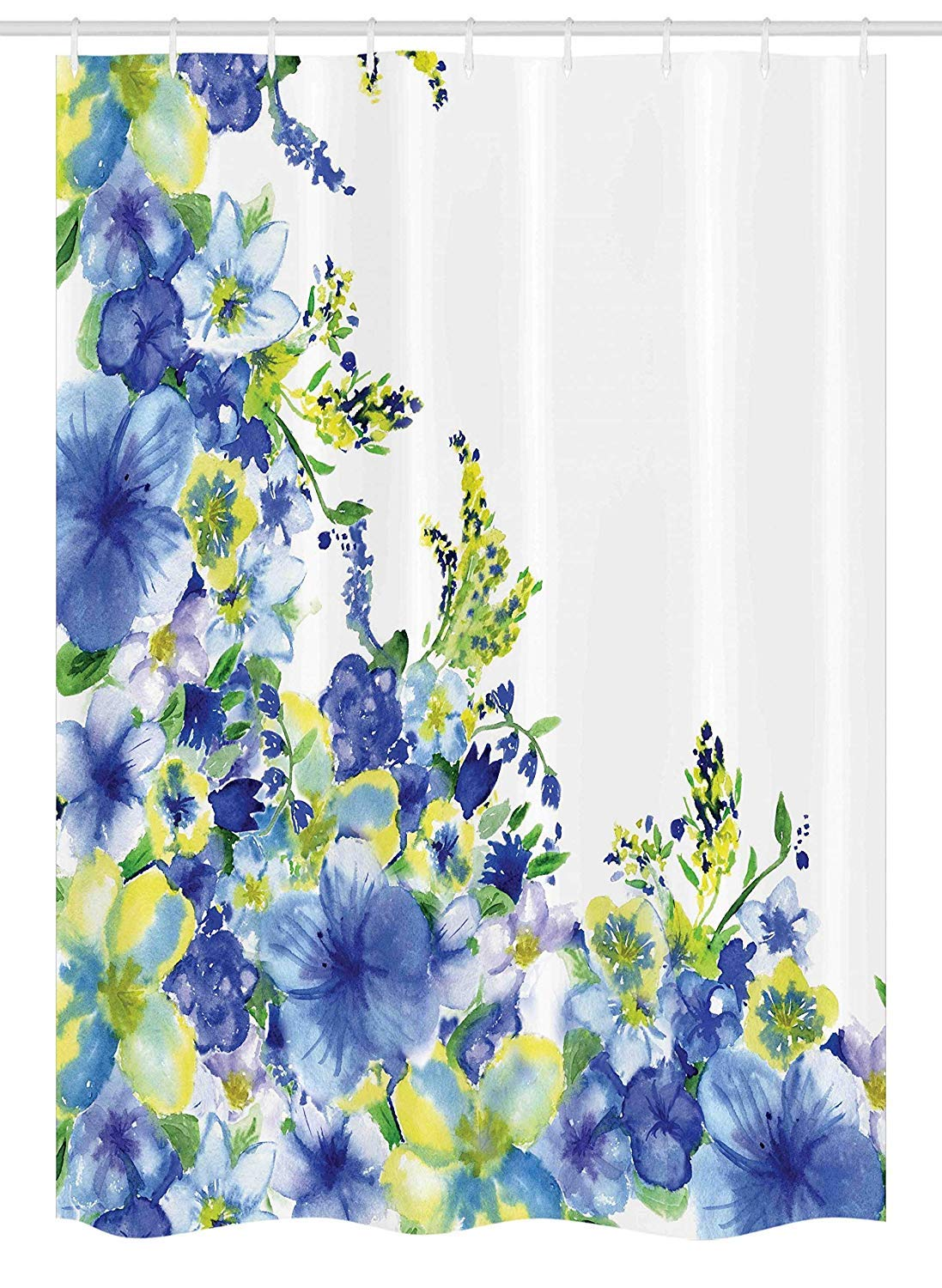 Printing Watercolor Flower House Decor Stall Shower Curtain, Motley Floret Motifs with Splash Anemone Iris Revival Theme, Fabric Polyester Waterproof 12 Stainless Steel Hook, 72 x 84 Inches