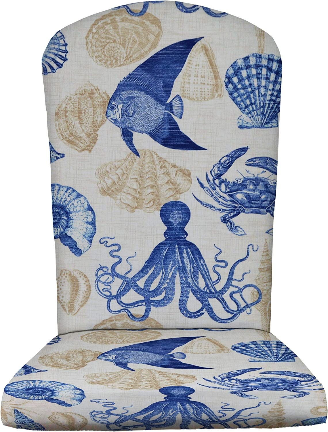 RSH Décor Outdoor Patio Decorative Foam Adirondack Chair Seat Cushion, Weather Resistant, Choose Color (Blue Tan Crab Sealife Marine)