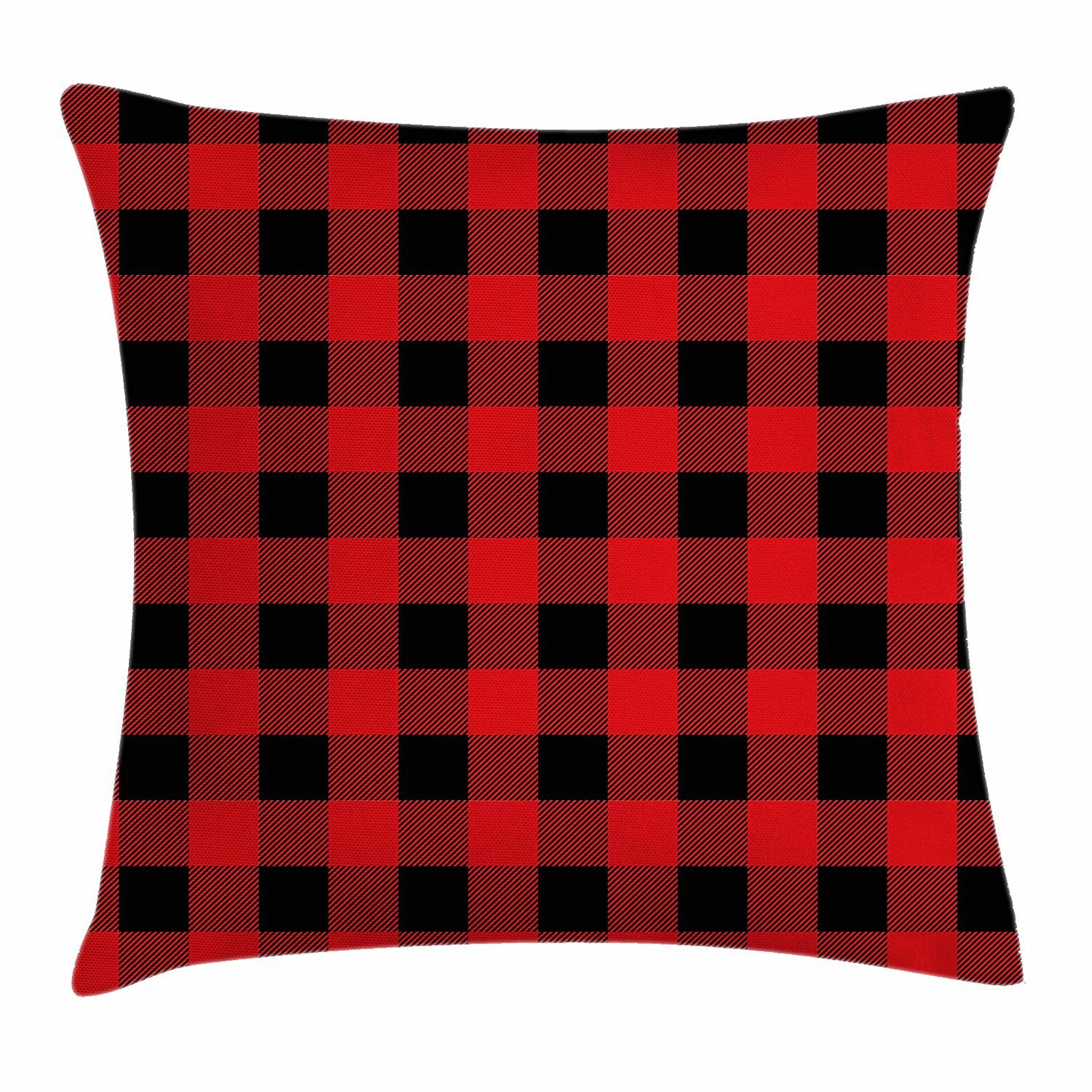 Plaid Throw Pillow Cushion Cover, Lumberjack Fashion Buffalo Style Checks Pattern Retro Style with Grid Composition, Decorative Square Accent Pillow Case, 18 X 18 inches, Scarlet Black Cool pillow