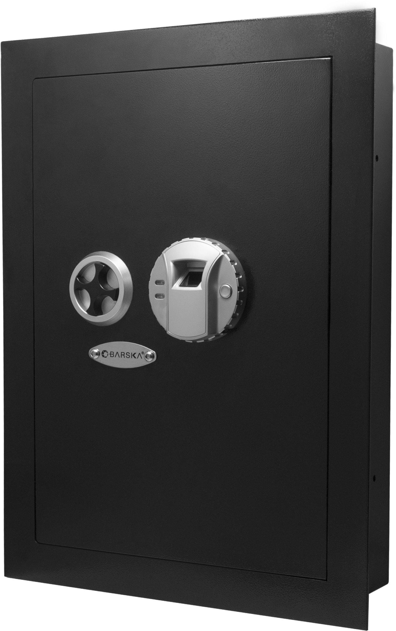 Barska Biometric Fingerprint Security Wall Safe 0.52 Cubic Ft by BARSKA