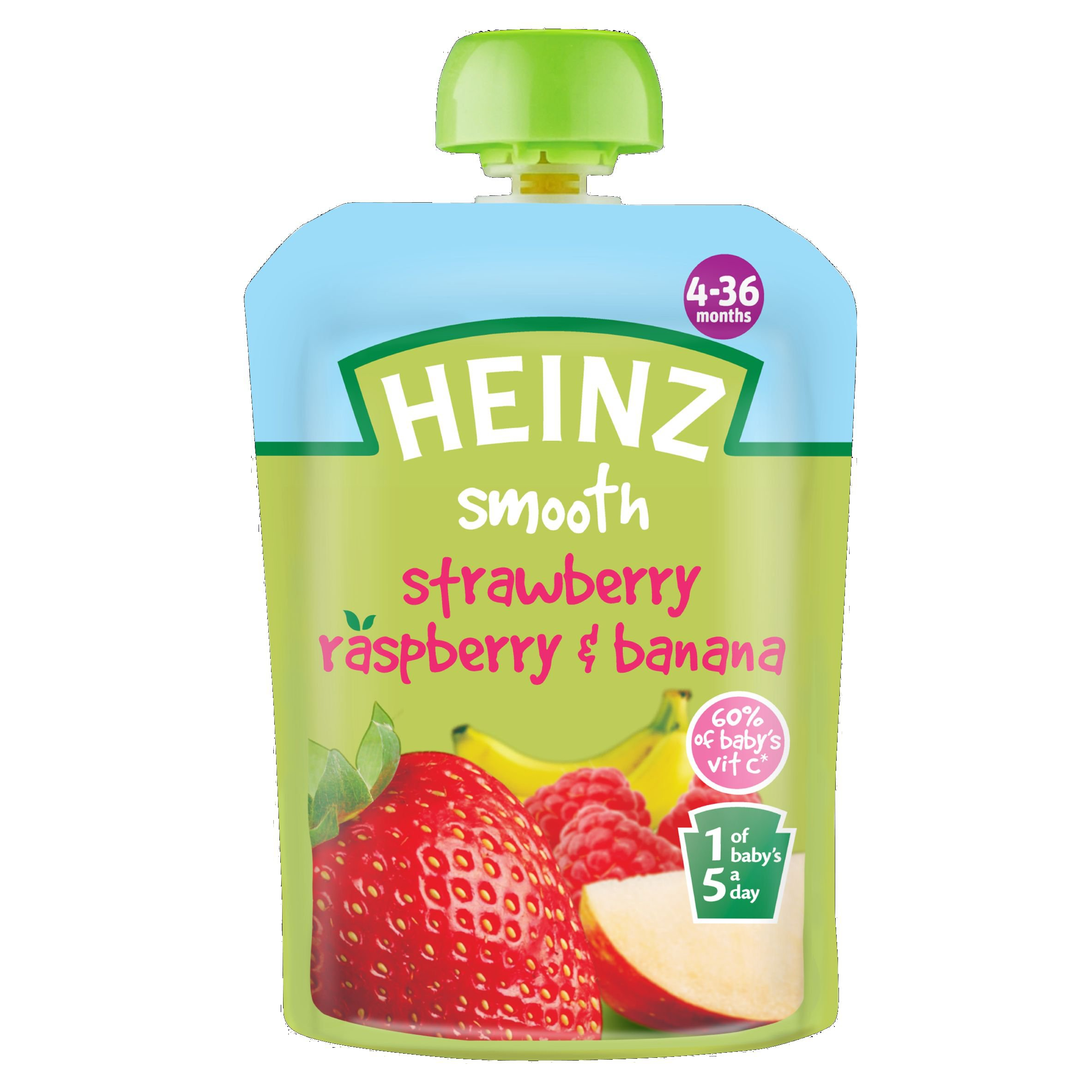 Heinz Strawberry/ Raspberry and Banana Fruit Pouch 4-36 Months 100 g (Pack of 6) by Heinz (Image #1)
